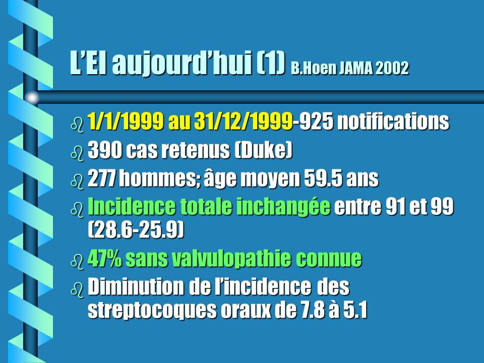 L'EI aujourd'hui (1) B.Hoen JAMA 2002