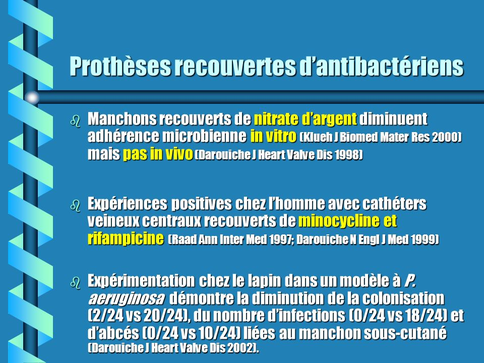 Prothèses recouvertes d'antibactériens