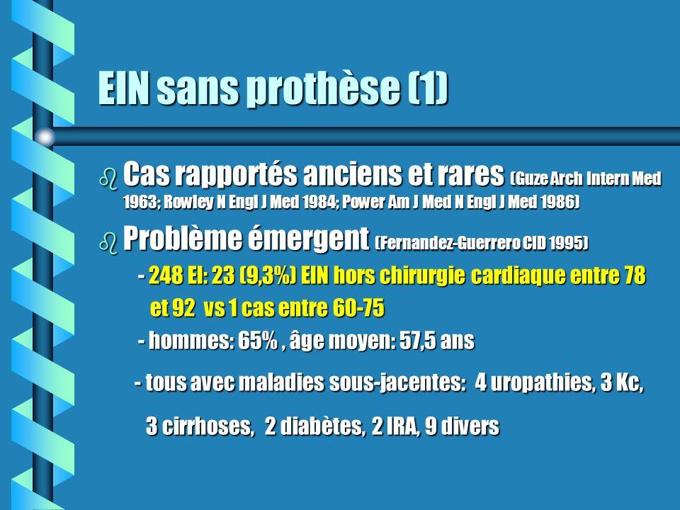 EIN sans prothèse (1) Cas rapportés anciens et rares (Guze Arch Intern Med 1963; Rowley N Engl J Med 1984; Power Am J Med N Engl J Med 1986)