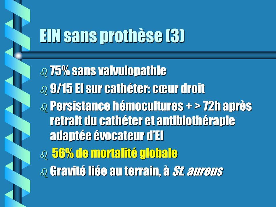 EIN sans prothèse (3) 75% sans valvulopathie