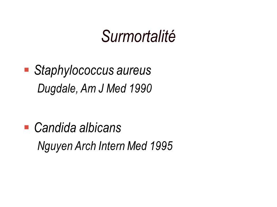 Surmortalité Staphylococcus aureus Candida albicans