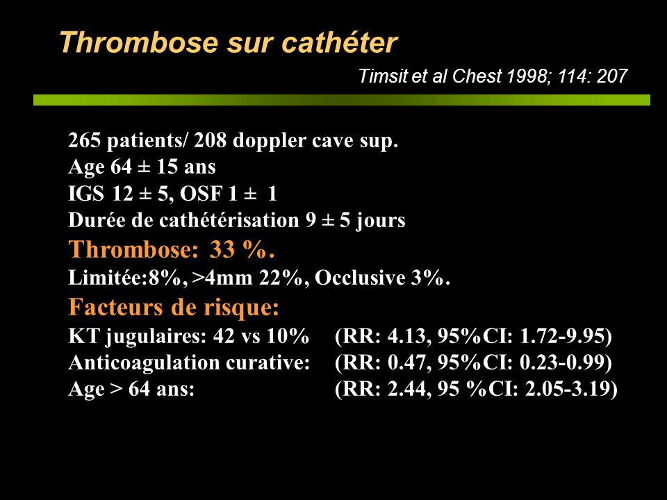 Thrombose sur cathéter