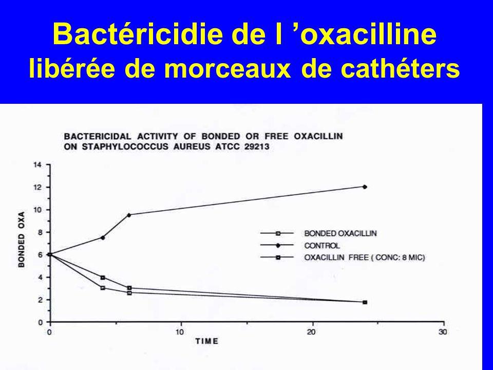 Bactéricidie de l 'oxacilline libérée de morceaux de cathéters
