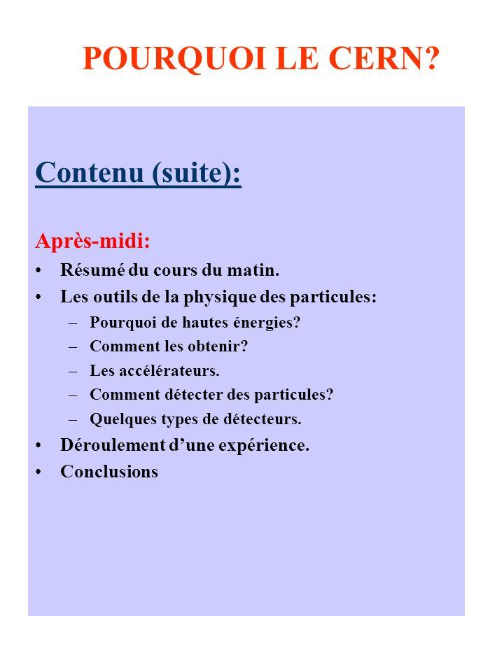 POURQUOI LE CERN Contenu (suite): Après-midi: