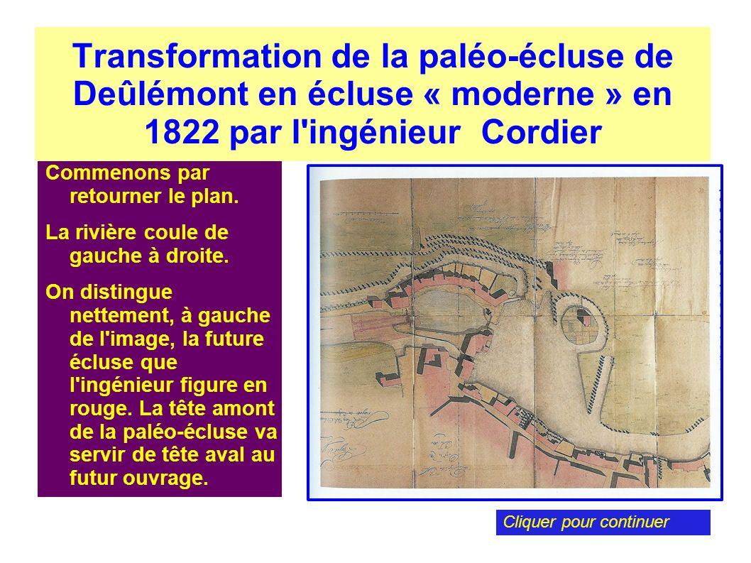 Transformation de la paléo-écluse de Deûlémont en écluse « moderne » en 1822 par l ingénieur Cordier
