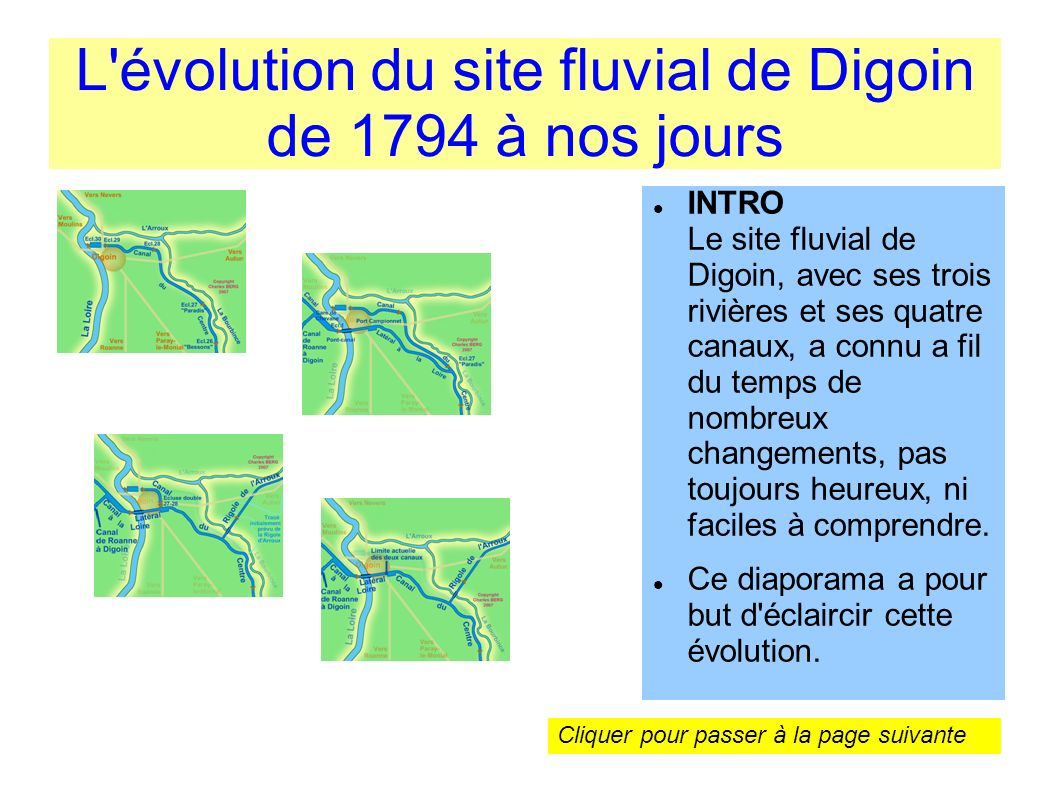L évolution du site fluvial de Digoin de 1794 à nos jours
