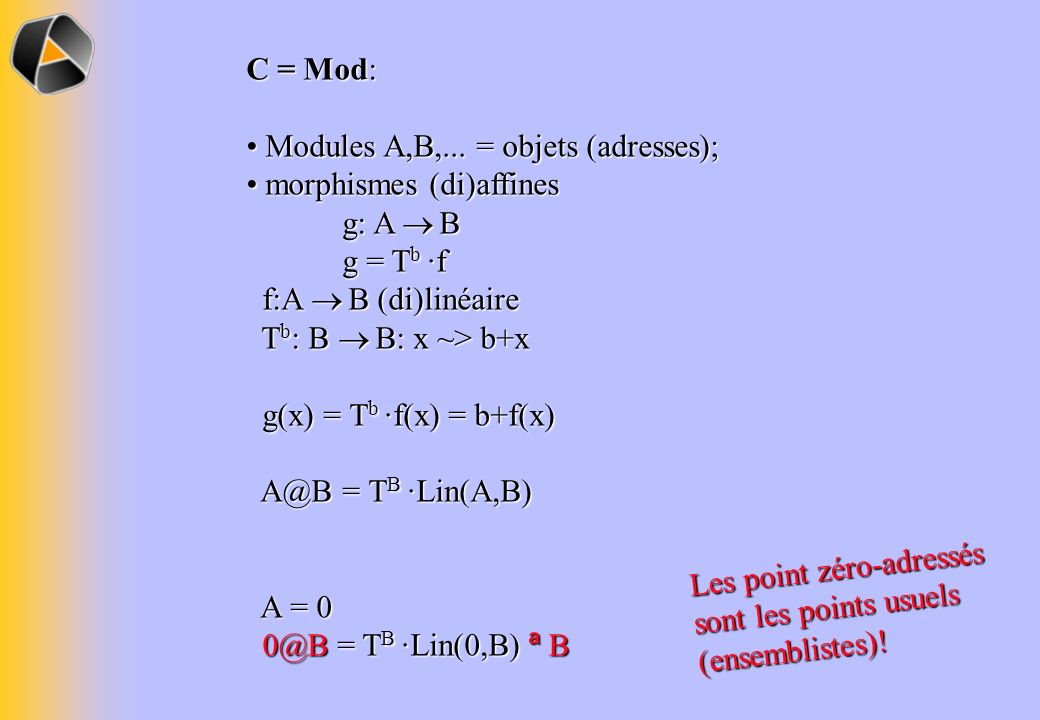 C = Mod: Modules A,B,... = objets (adresses); morphismes (di)affines g: A ® B g = Tb ·f.
