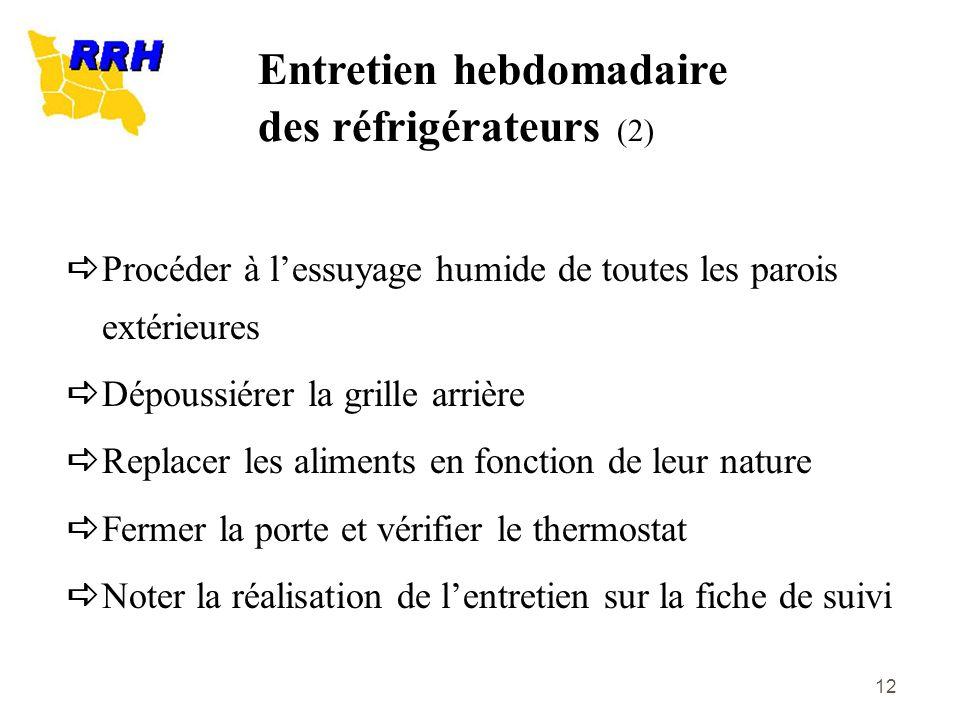 Entretien hebdomadaire des réfrigérateurs (2)