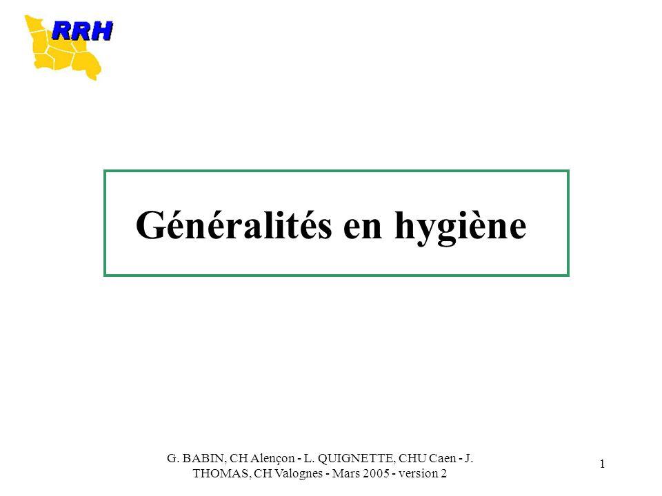 Généralités en hygiène