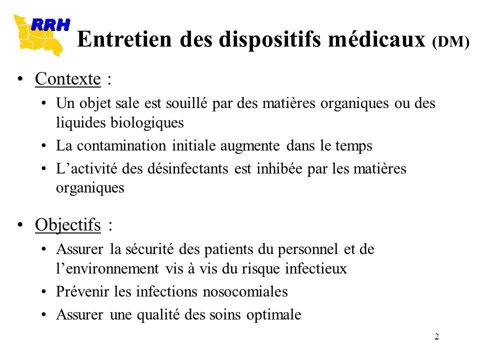 Entretien des dispositifs médicaux (DM)