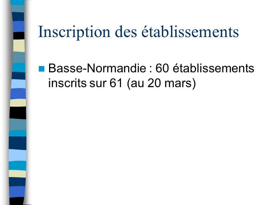 Inscription des établissements