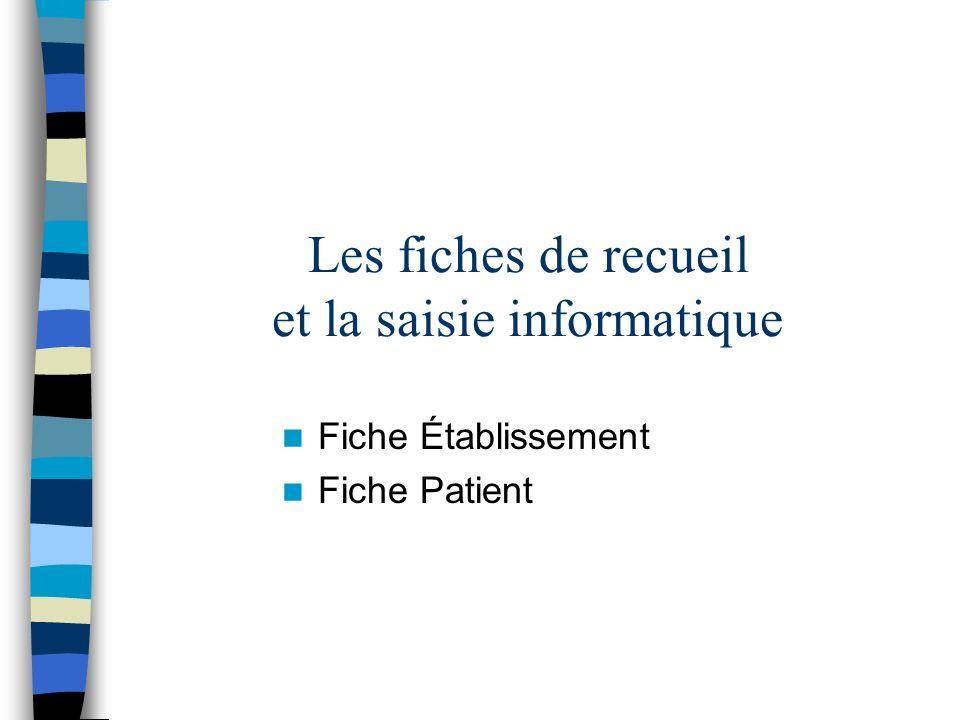 Les fiches de recueil et la saisie informatique