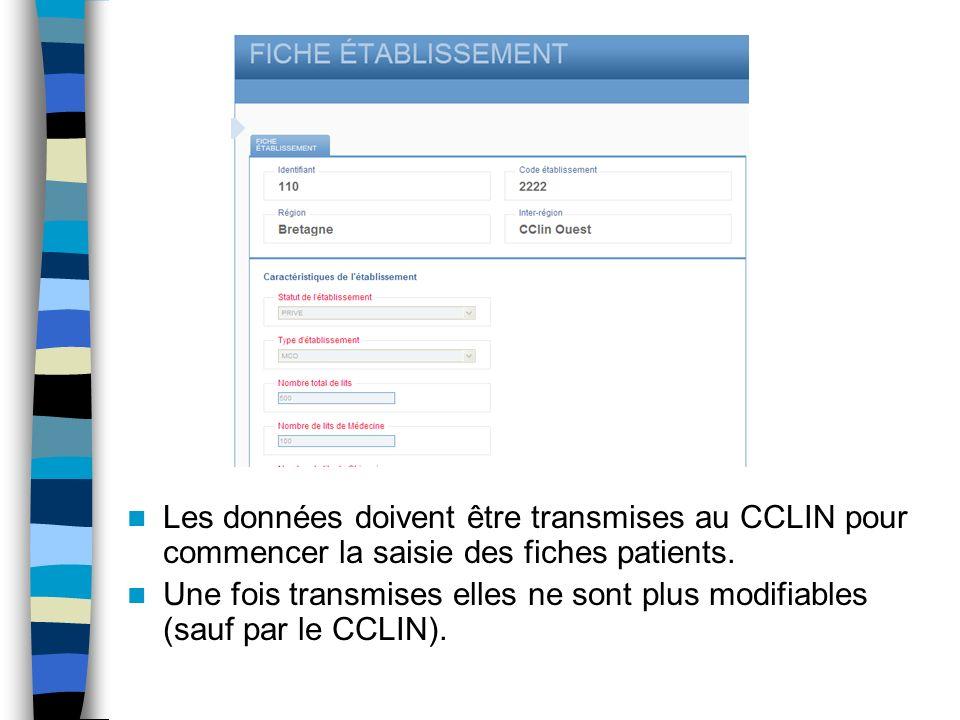 Les données doivent être transmises au CCLIN pour commencer la saisie des fiches patients.