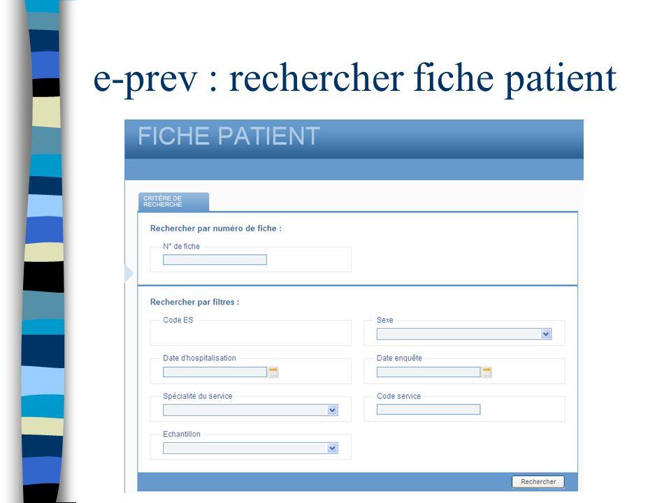 e-prev : rechercher fiche patient