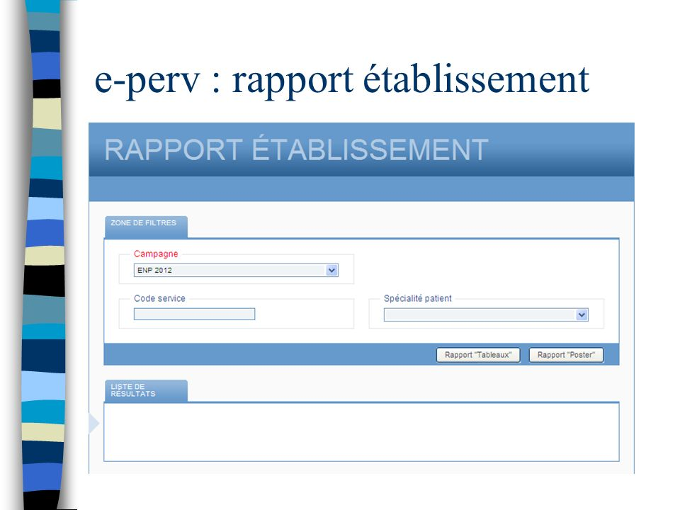 e-perv : rapport établissement