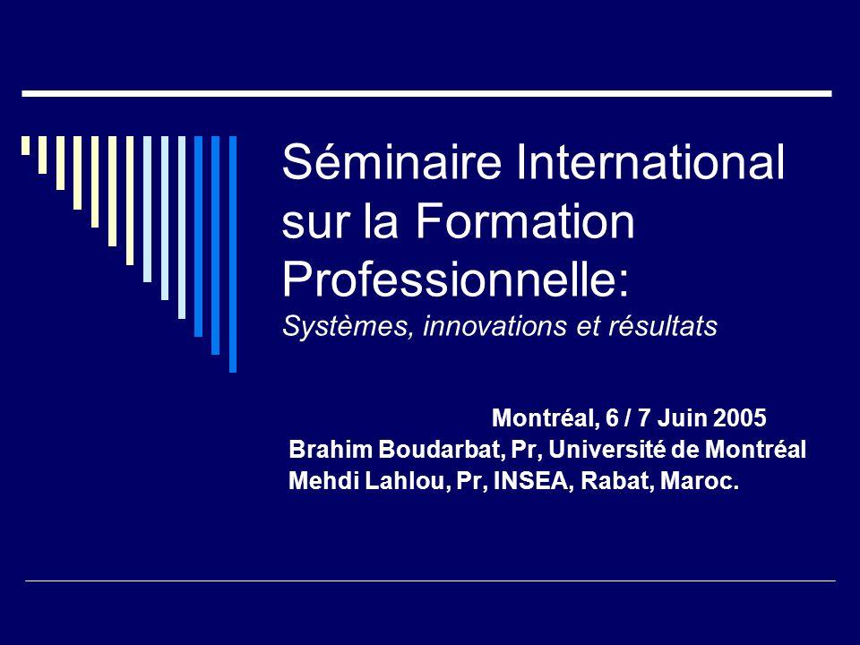 Séminaire International sur la Formation Professionnelle: Systèmes, innovations et résultats
