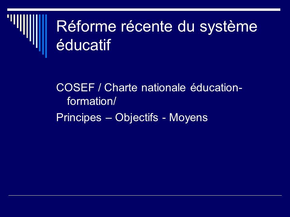 Réforme récente du système éducatif