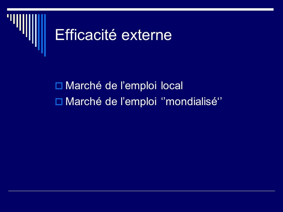 Efficacité externe Marché de l'emploi local
