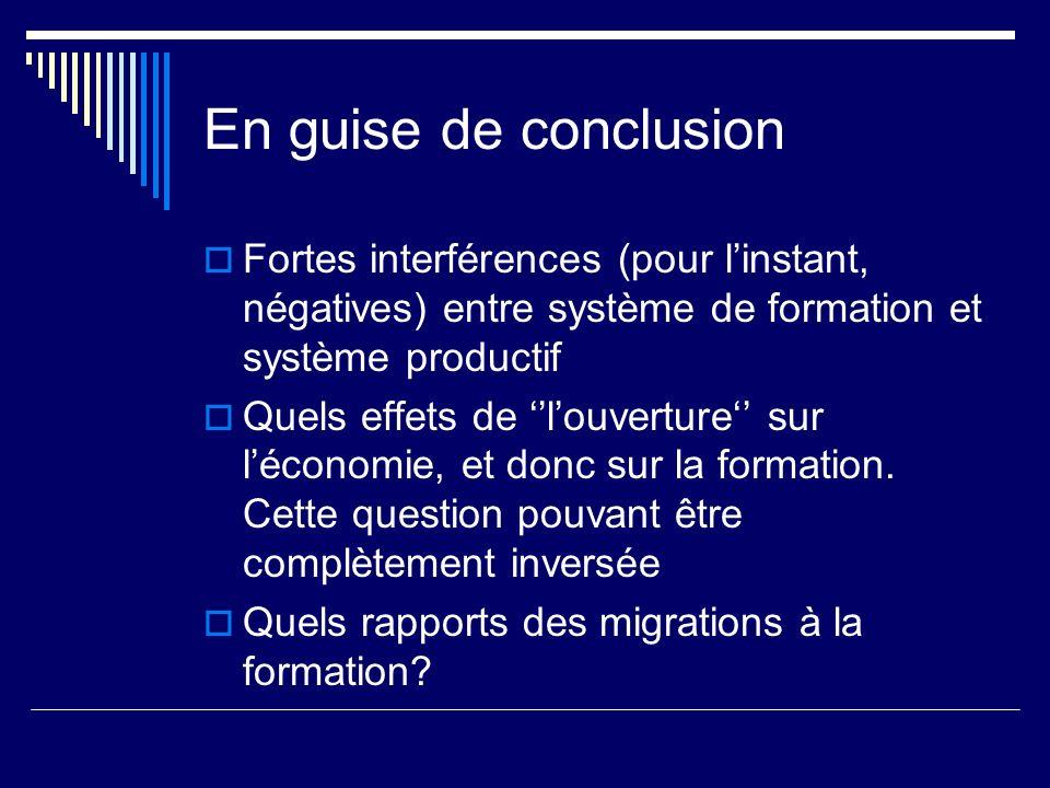 En guise de conclusionFortes interférences (pour l'instant, négatives) entre système de formation et système productif.