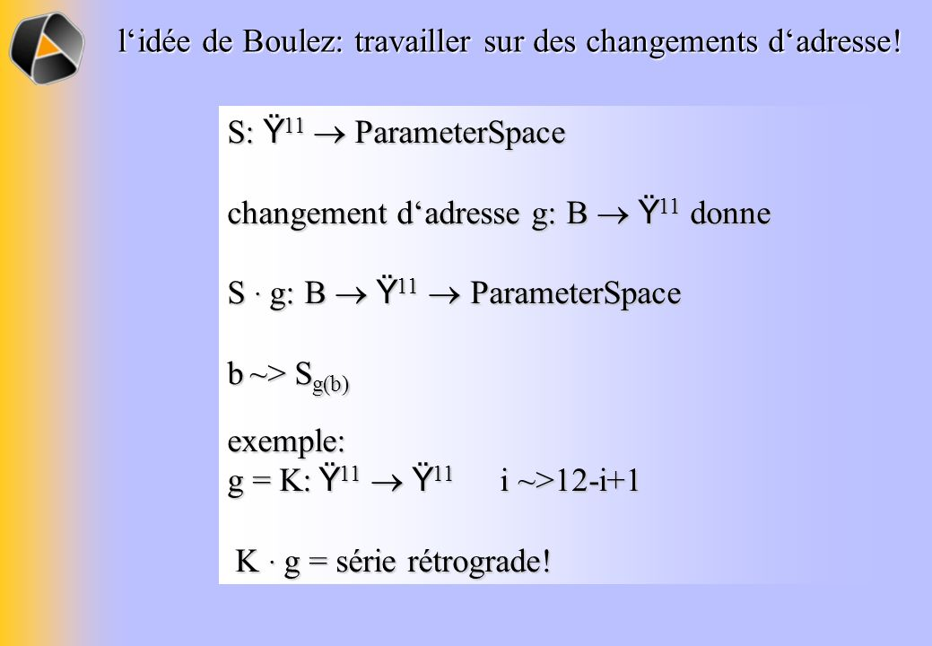 l'idée de Boulez: travailler sur des changements d'adresse!