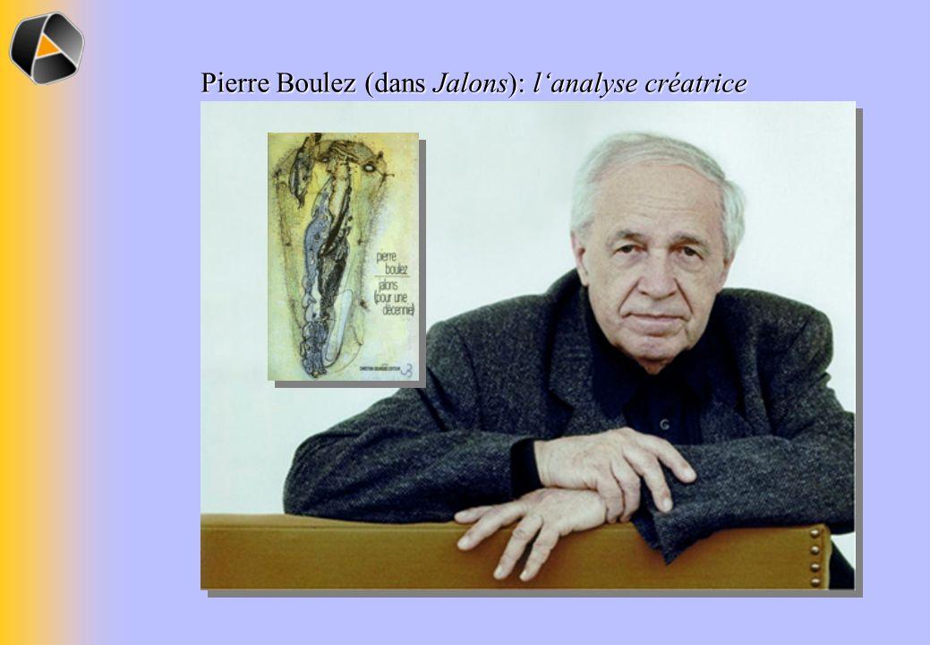 Pierre Boulez (dans Jalons): l'analyse créatrice