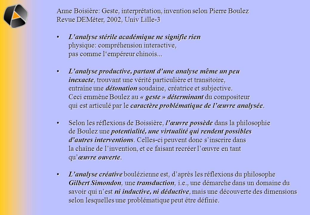 Anne Boisière: Geste, interprétation, invention selon Pierre Boulez Revue DEMéter, 2002, Univ Lille-3