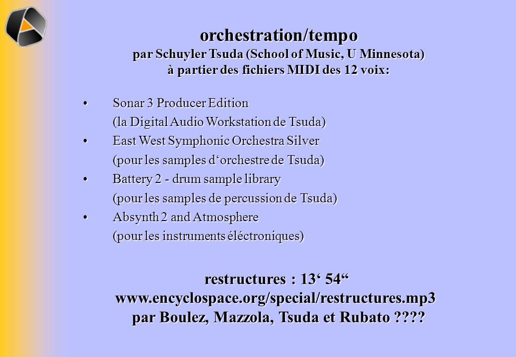 orchestration/tempo par Schuyler Tsuda (School of Music, U Minnesota) à partier des fichiers MIDI des 12 voix:
