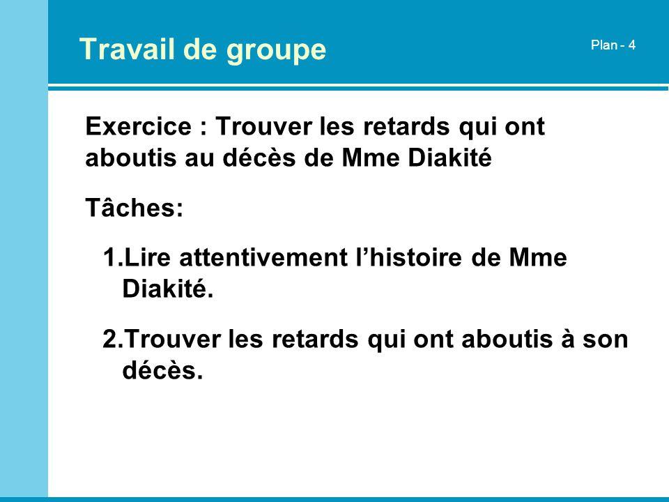 Travail de groupePlan - 4. Exercice : Trouver les retards qui ont aboutis au décès de Mme Diakité. Tâches: