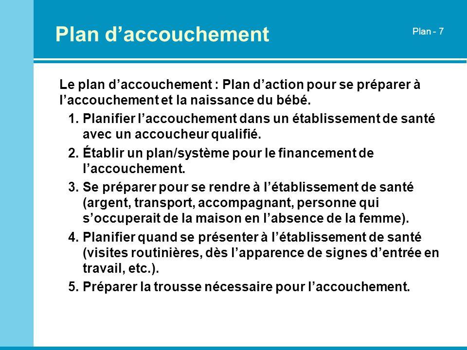 Plan d'accouchementPlan - 7. Le plan d'accouchement : Plan d'action pour se préparer à l'accouchement et la naissance du bébé.