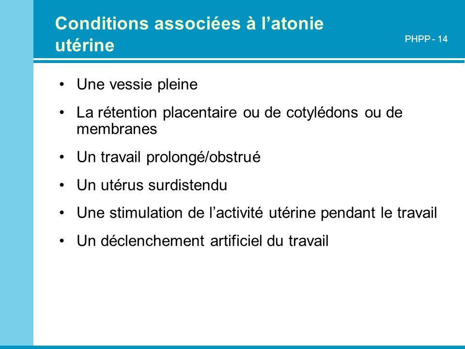 Conditions associées à l'atonie utérine