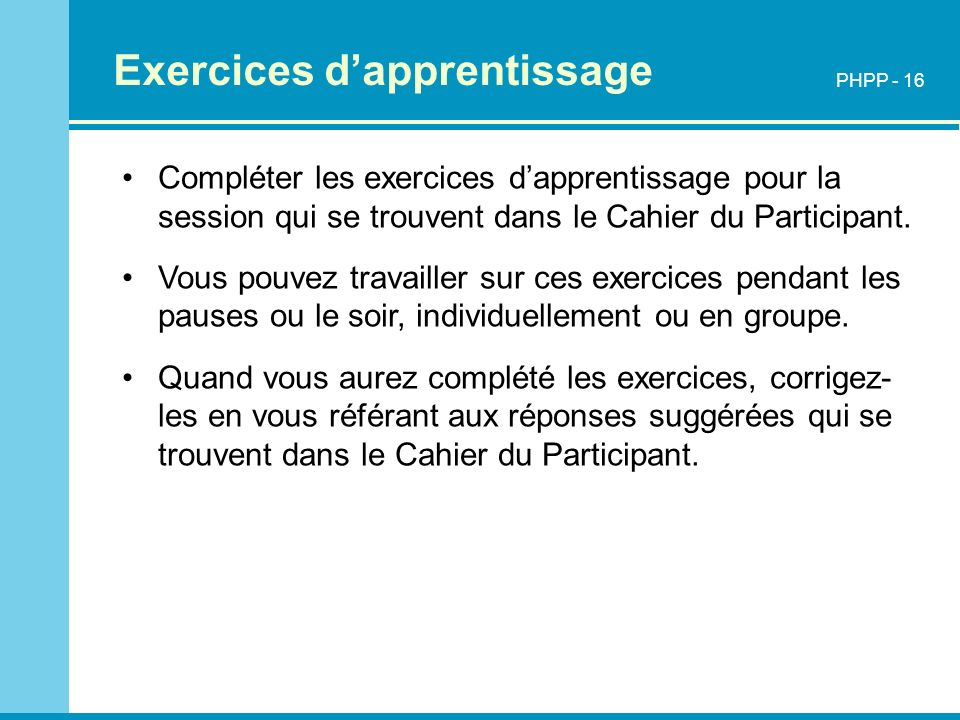 Exercices d'apprentissage
