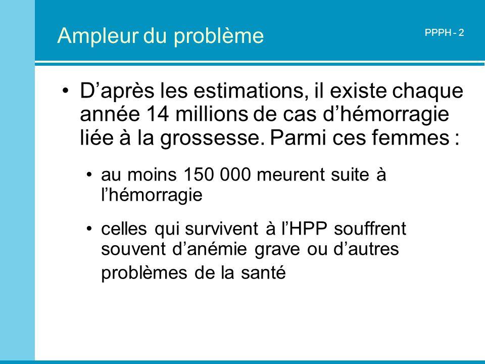 Ampleur du problèmePPPH - 2. D'après les estimations, il existe chaque année 14 millions de cas d'hémorragie liée à la grossesse. Parmi ces femmes :