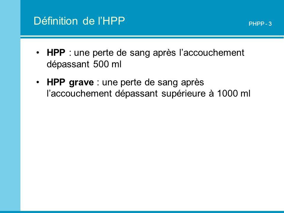 Définition de l'HPP PHPP - 3. HPP : une perte de sang après l'accouchement dépassant 500 ml.