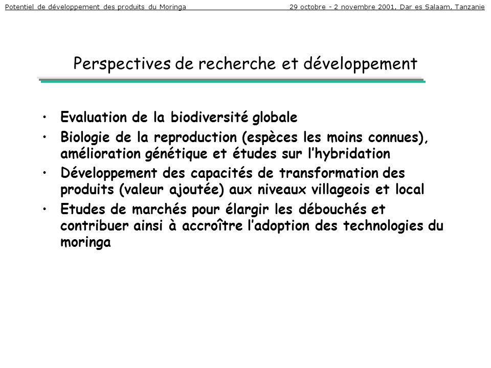 Perspectives de recherche et développement