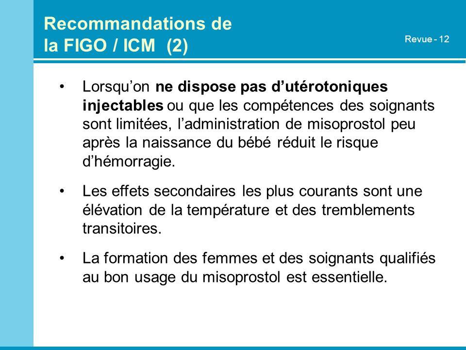 Recommandations de la FIGO / ICM (2)