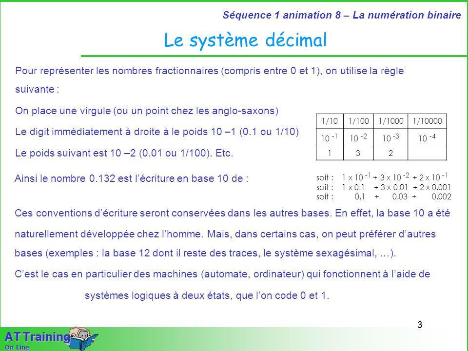 Le système décimalPour représenter les nombres fractionnaires (compris entre 0 et 1), on utilise la règle suivante :