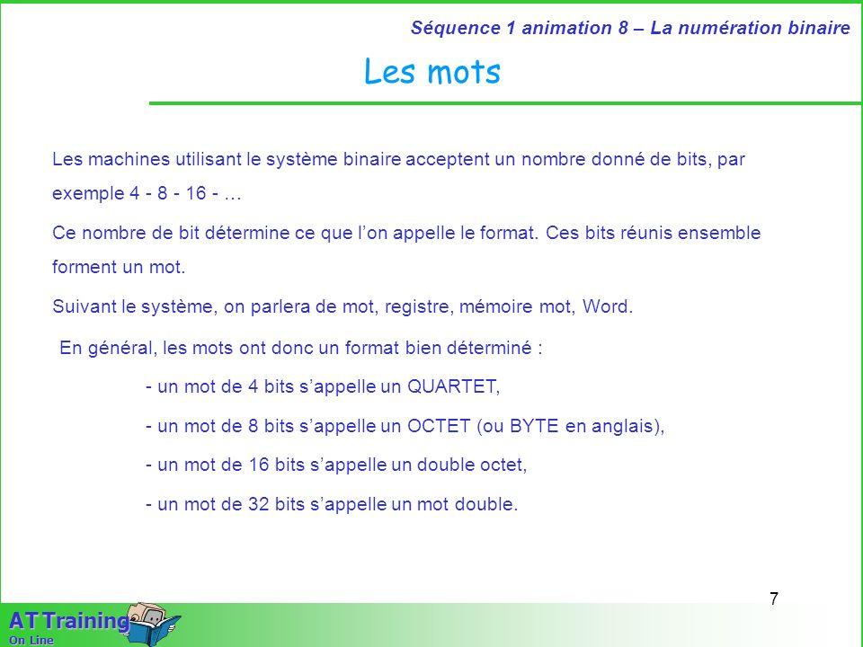 Les motsLes machines utilisant le système binaire acceptent un nombre donné de bits, par exemple 4 - 8 - 16 - …