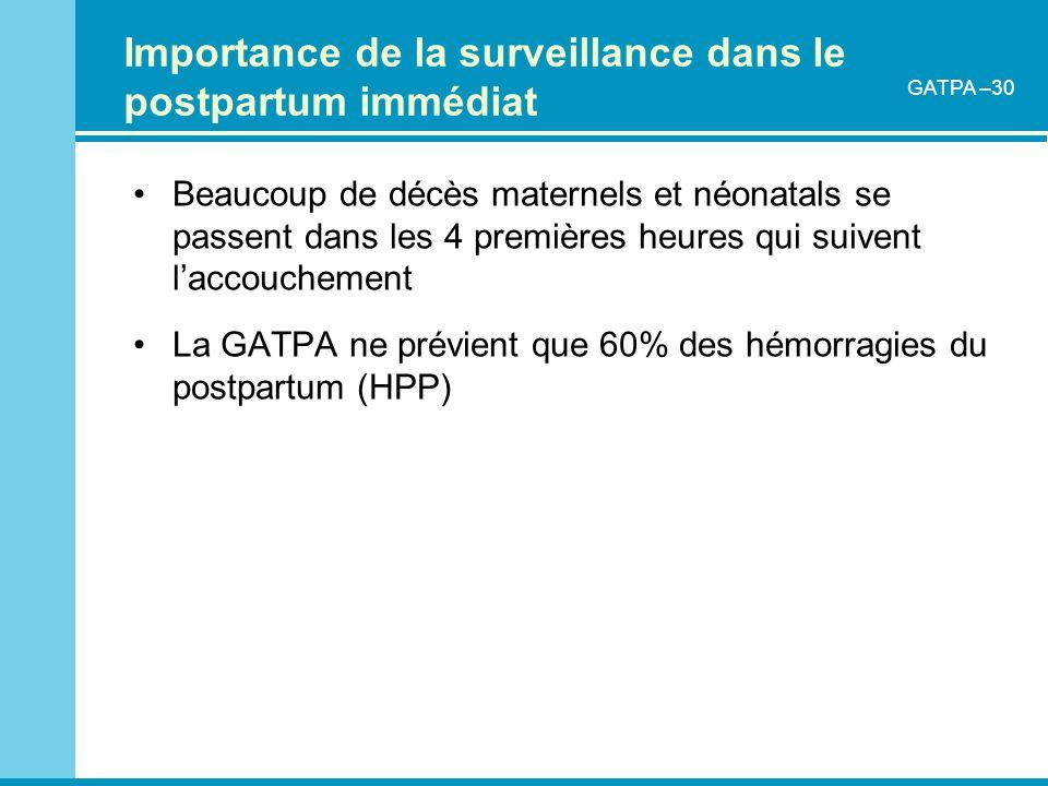 Importance de la surveillance dans le postpartum immédiat
