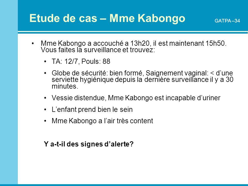 Etude de cas – Mme Kabongo