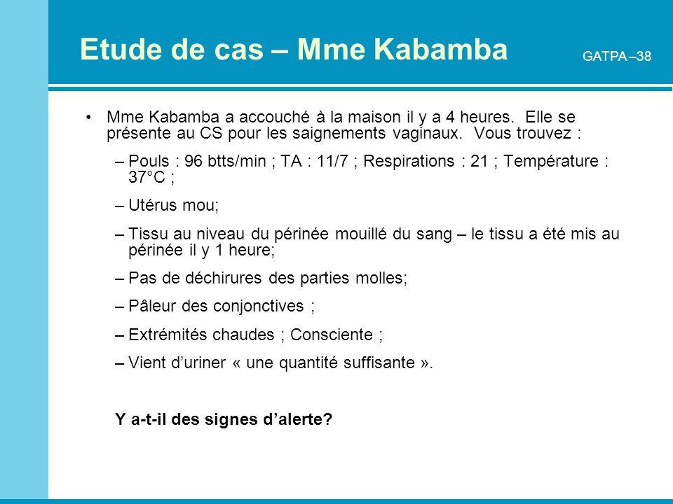 Etude de cas – Mme Kabamba