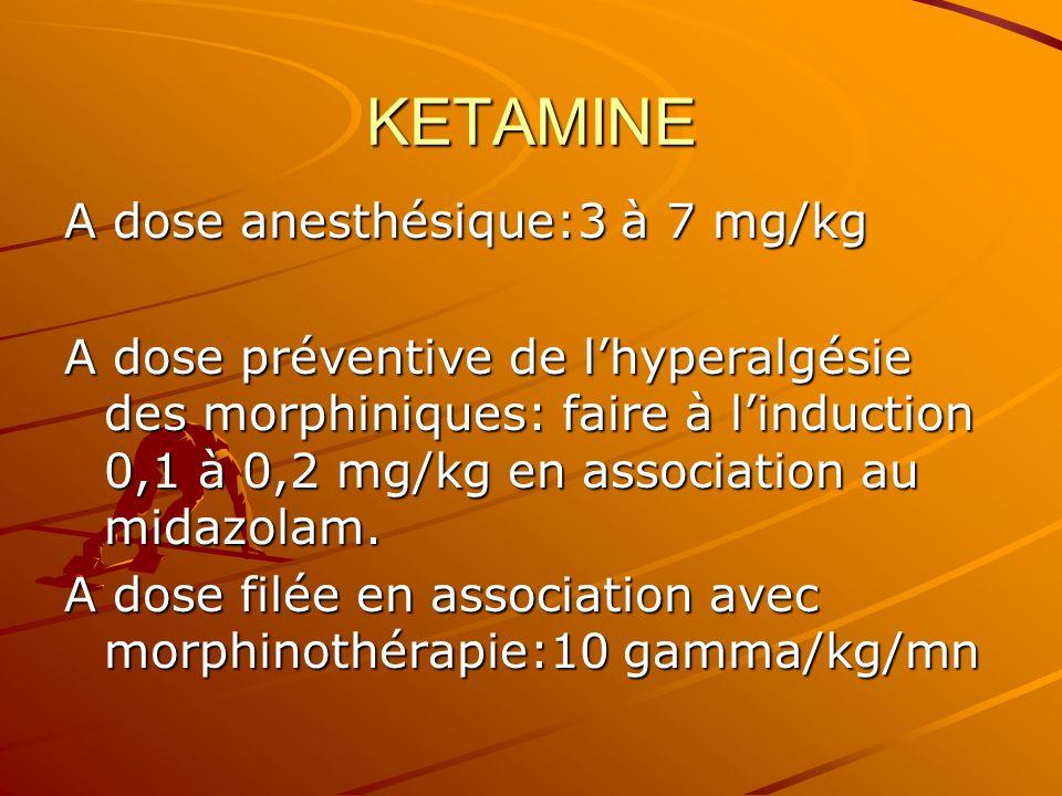 KETAMINE A dose anesthésique:3 à 7 mg/kg