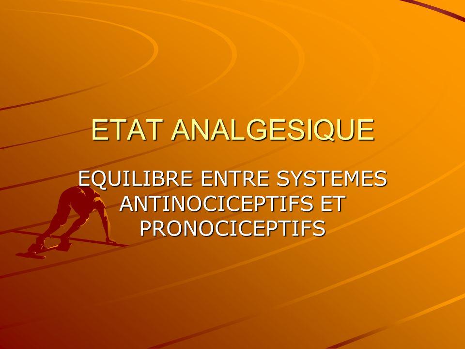 EQUILIBRE ENTRE SYSTEMES ANTINOCICEPTIFS ET PRONOCICEPTIFS