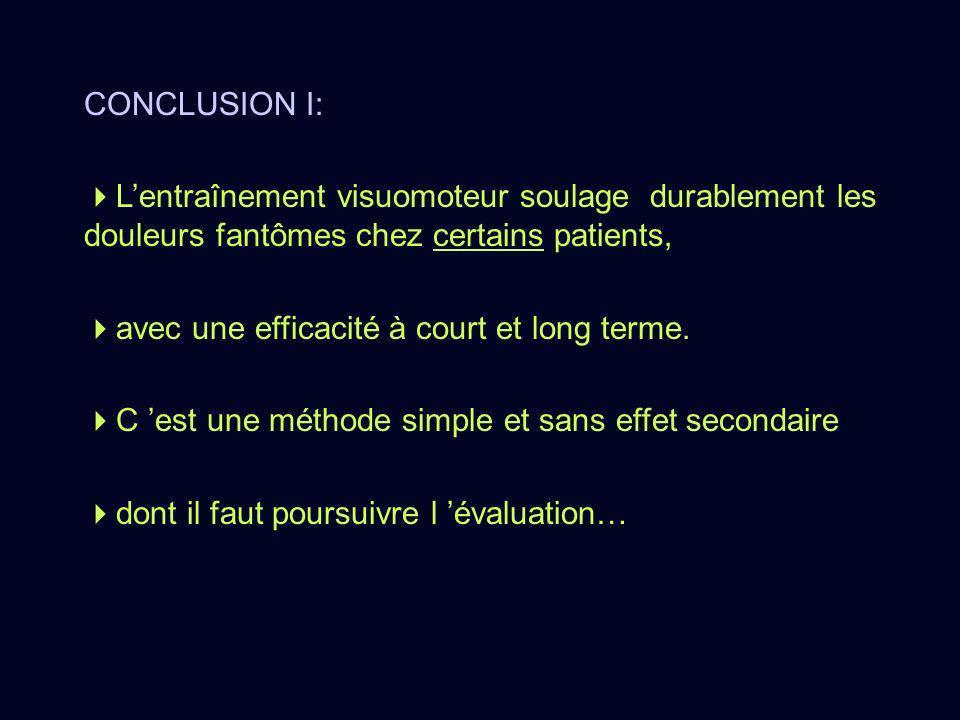 CONCLUSION I: L'entraînement visuomoteur soulage durablement les douleurs fantômes chez certains patients,