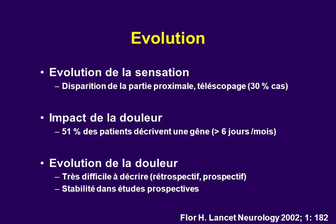 Evolution Evolution de la sensation Impact de la douleur