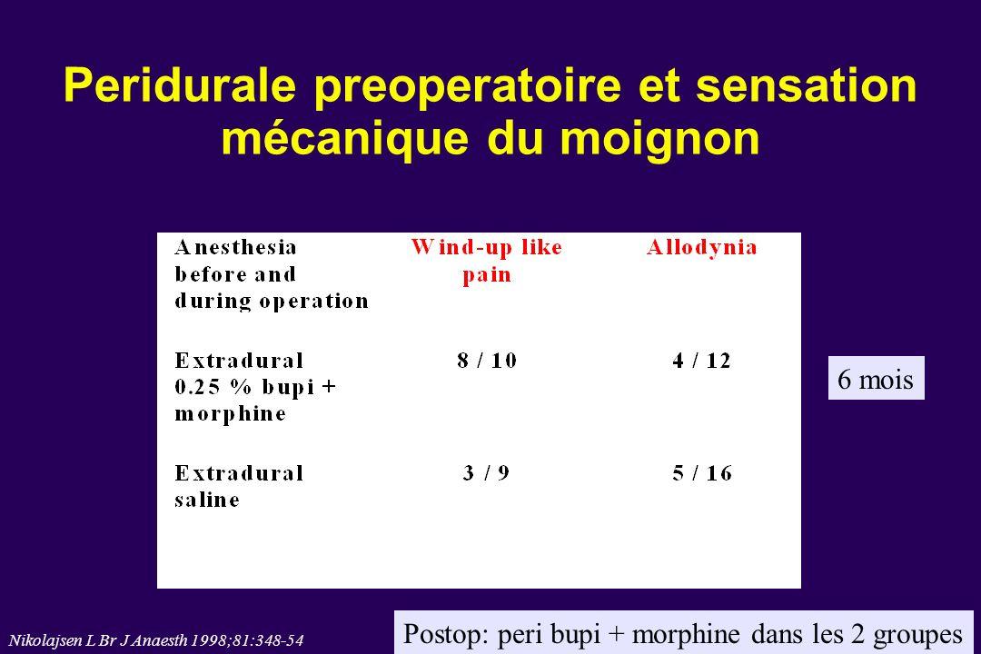 Peridurale preoperatoire et sensation mécanique du moignon