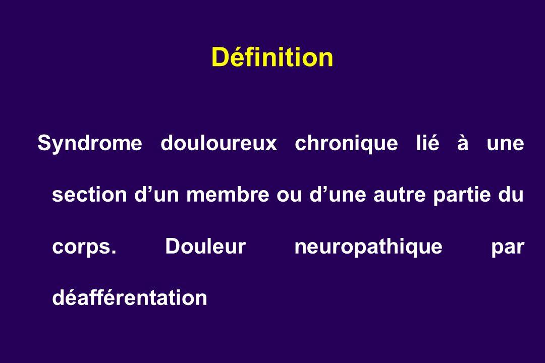 Définition Syndrome douloureux chronique lié à une section d'un membre ou d'une autre partie du corps.