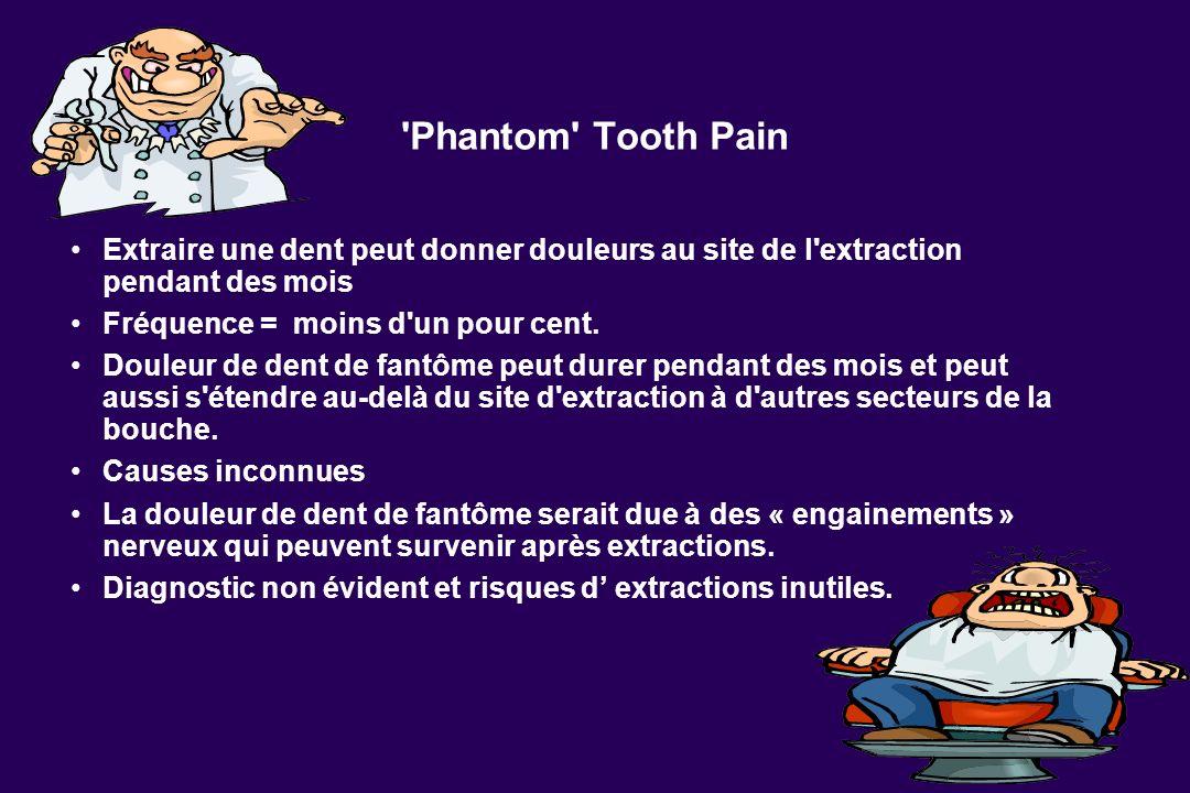 Phantom Tooth Pain Extraire une dent peut donner douleurs au site de l extraction pendant des mois.