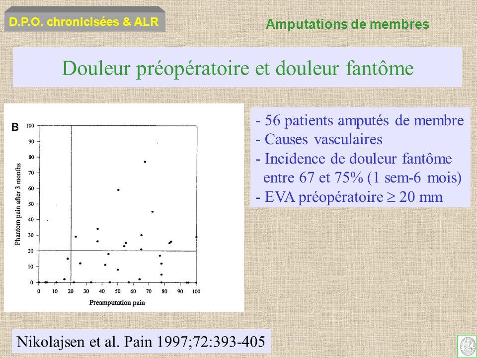 Douleur préopératoire et douleur fantôme