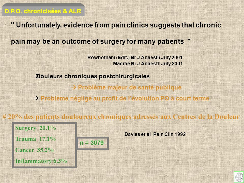 D.P.O. chronicisées & ALR Unfortunately, evidence from pain clinics suggests that chronic. pain may be an outcome of surgery for many patients