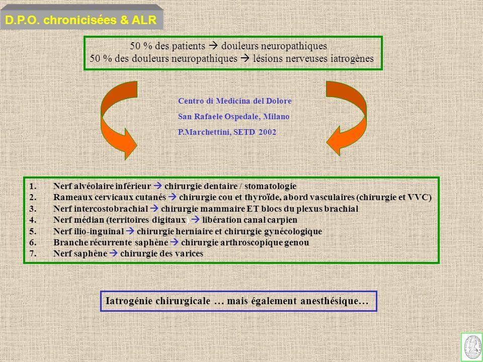 D.P.O. chronicisées & ALR 50 % des patients  douleurs neuropathiques